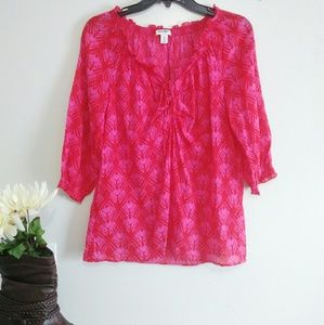 Old Navy 3/4 Ruffled Sleeve Red Top